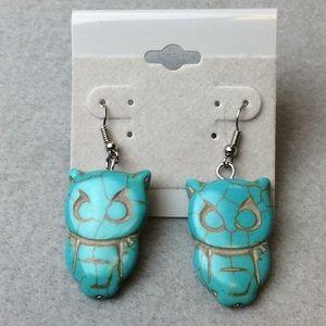 Jewelry - New Blue Crackle Owl Earrings